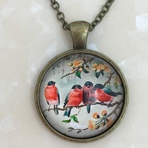 Jewelry - Robin Birds Sitting on a Branch Bronze Necklace